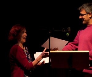 Daljit Nagra presenting prize to competition winner