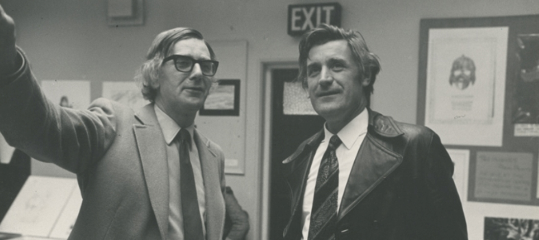 Michael Dawn and Ted Hughes in the Kings Hall 1975