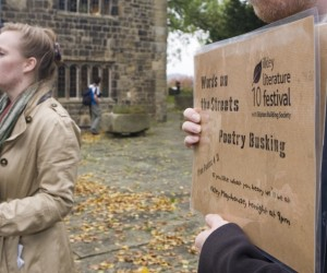 Poets busking outside the Manor House Museum