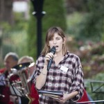 Poet in Residence Kim Moore performing on Ilkley Bandstand