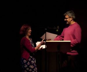 Daljit Nagra presenting prize to competition winner