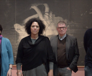 Rachel, Rommi, Nigel in Leeds Art Gallery