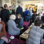 Audience waiting for an event in Ilkley Playhouse foyer