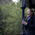 Apprentice Poet Phoebe Power performing on Ilkley Bandstand