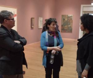 Rachel, Rommi and Nigel stood in Leeds Art Gallery