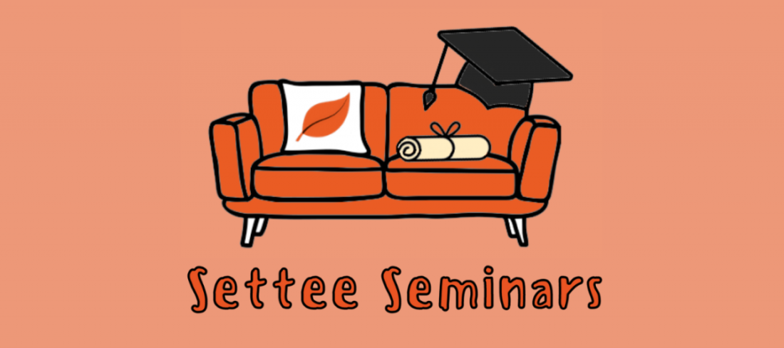 Settee Seminars. Image of orange settee with cushion, scroll and mortarboard on it.