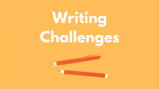 Image that reads Writing Challenges. Orange pens on a yellow background.