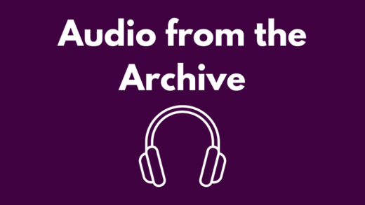 Image that reads Audio from the Archive and white headphones against a purple background.