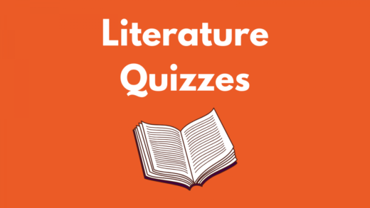Image that reads Literature Quizzes and a white book against an orange background.
