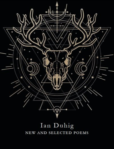 Book cover of black background with line drawing of a deer in gold lines