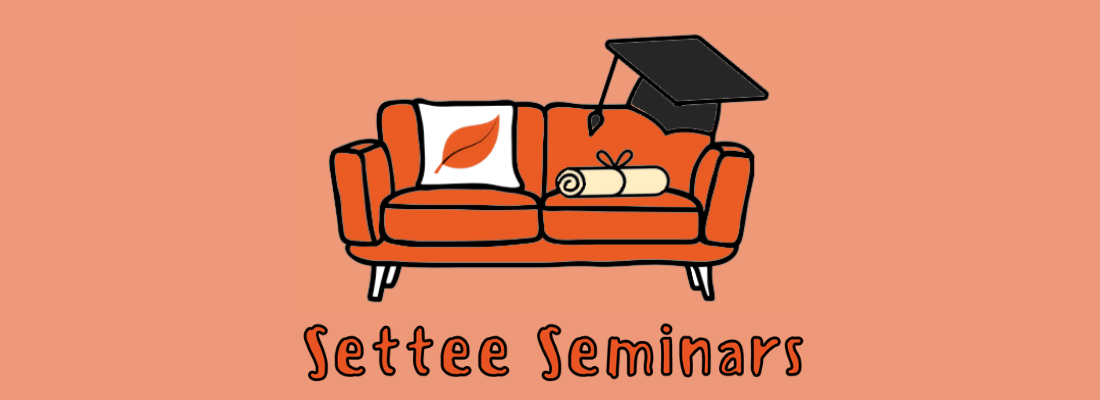 Image of orange sofa with a mortarboard, scroll and cushion with ILF logo. Text reads Settee Seminars.