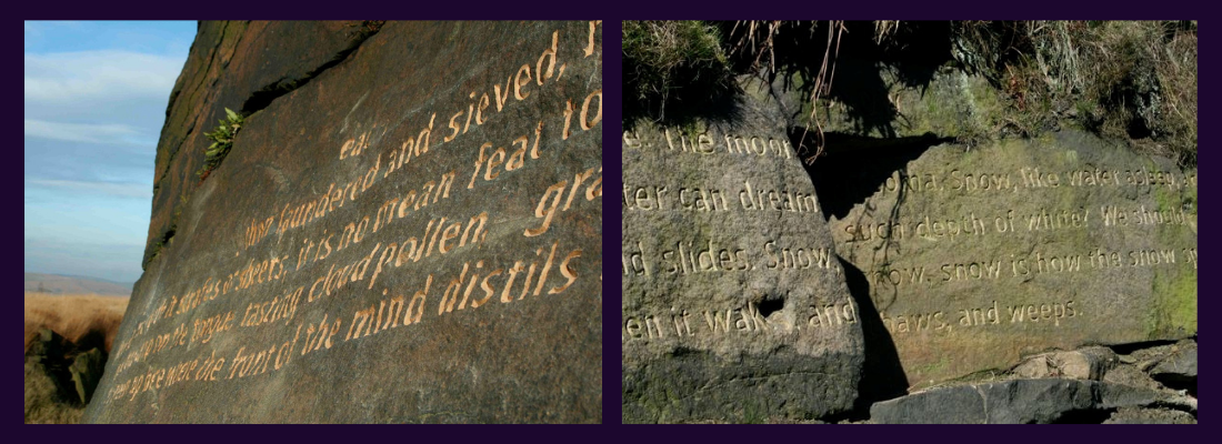 Two images of the Stanza Stones Poetry Trail stones. Text engraved on stone slabs.