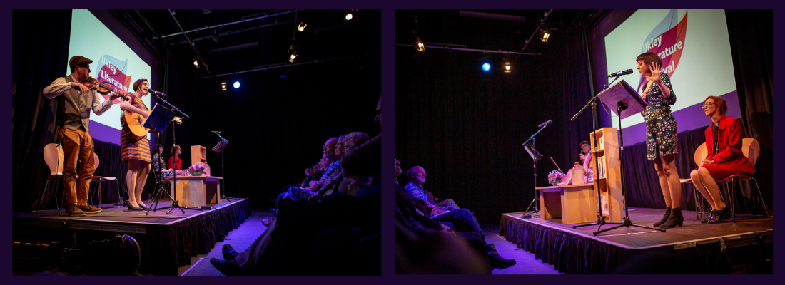 Image of performances of 2019 Micro Commissions. Image one: two performers on stage, one playing a violin and another playing the guitar. Image two: one performer standing on a stage.