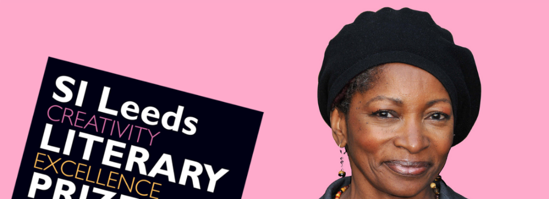 Image of a woman looking at the camera against a pink background. Text reads SI Leeds Literary Prize.