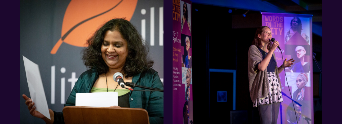 Image of 2019 Apprentice Poets in Residence. Shash Trevett, left, stands behind a lecturn and smiling. Genevieve Carver, right, stands on stage holding a microphone.