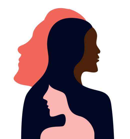Silhouettes of three women